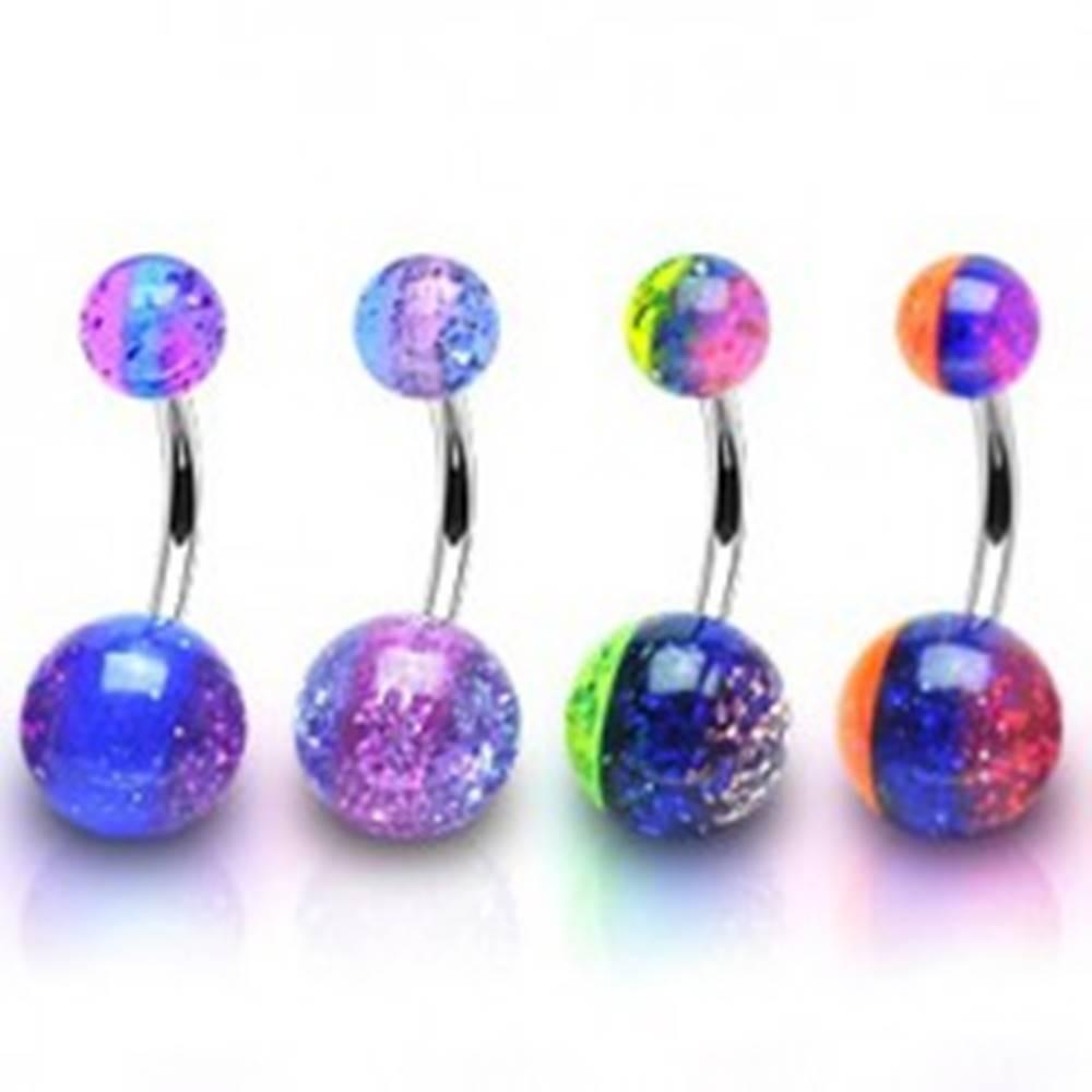 Šperky eshop Oceľový piercing do pupku - trojfarebný, priehľadný, trblietky vo vnútri - Farba piercing: Fialová - Modrá - Fialová
