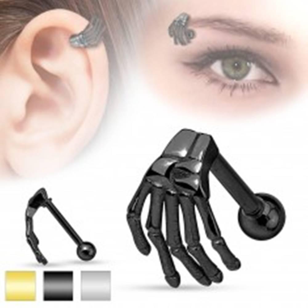 Šperky eshop Oceľový piercing do ucha alebo obočia, kostra ruky, rôzne farby - Farba: Čierna