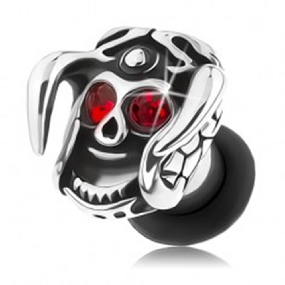 Šperky eshop Oceľový plug do ucha, lebka s prilbou a rohami, červené zirkóny, patina - Hrúbka: 3 mm