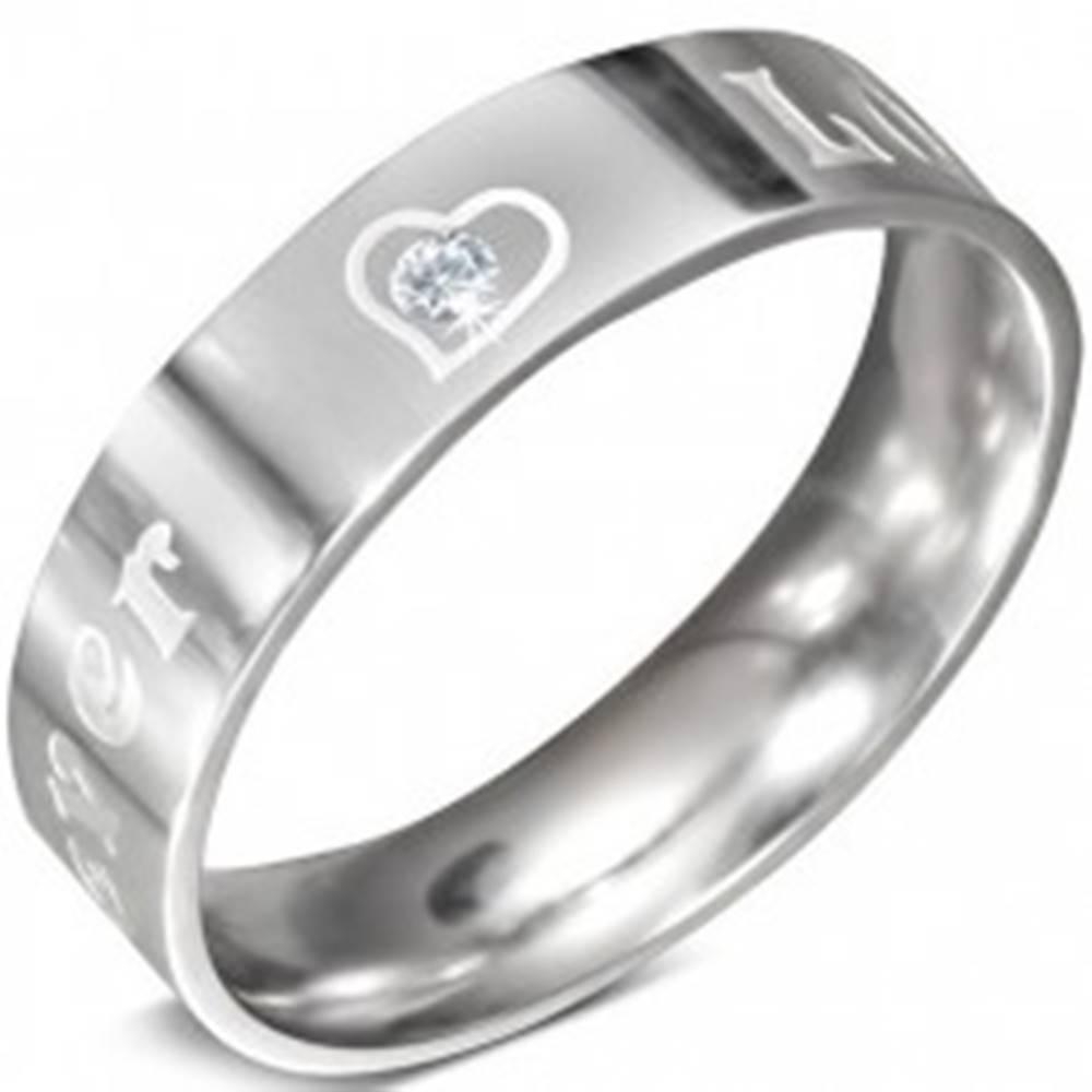 Šperky eshop Oceľový prsteň - nápis FOREVER LOVE a zirkón, 6 mm - Veľkosť: 52 mm
