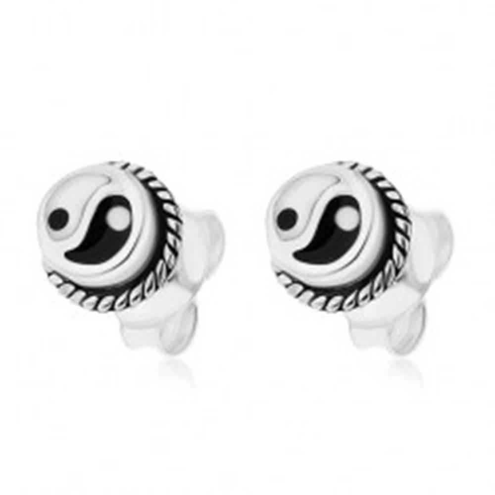 Šperky eshop Okrúhle puzetové náušnice, striebro 925, čierno-biely symbol Jin a Jang