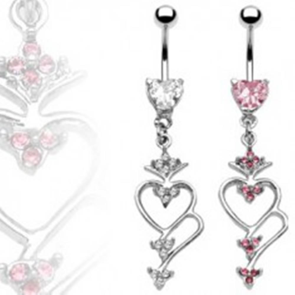 Šperky eshop Piercing do brucha srdce a polovičné srdce so zirkónmi - Farba zirkónu: Číra - C