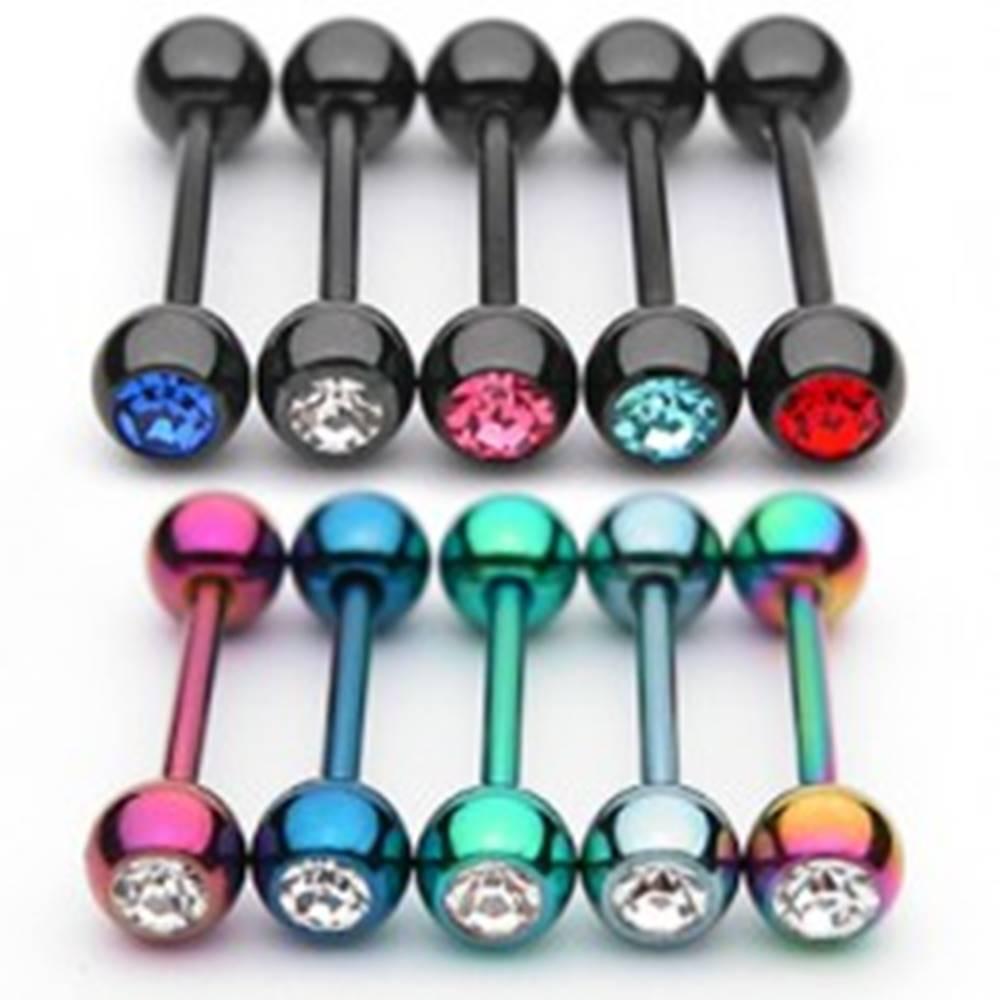 Šperky eshop Piercing do jazyka so zirkónom z anodizovaného titánu - Farba zirkónu: Čierna - červená