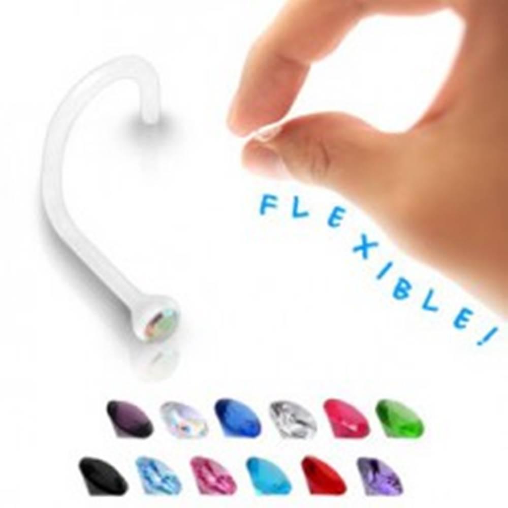 Šperky eshop Piercing do nosa - transparentný BioFlex s farebným zirkónom  - Farba zirkónu: Aqua modrá - Q