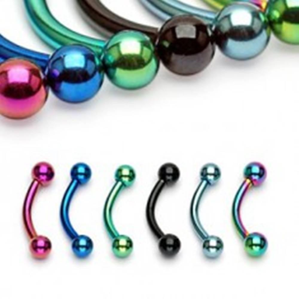 Šperky eshop Piercing do obočia anodizovaný titán s guličkami - Rozmer: 1,2 mm x 10 mm x 4x4 mm, Farba piercing: Dúhová