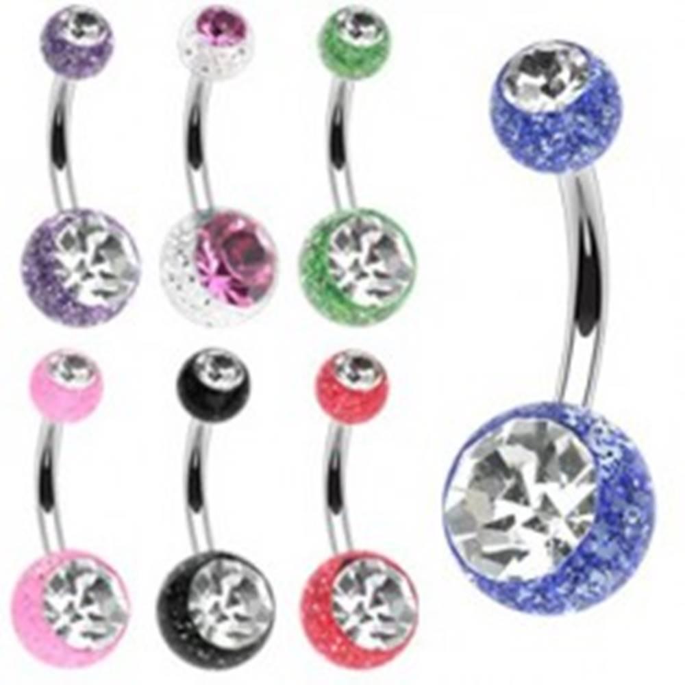 Šperky eshop Piercing do pupku z chirurgickej ocele s trblietkami a zirkónmi - Farba piercing: Červená