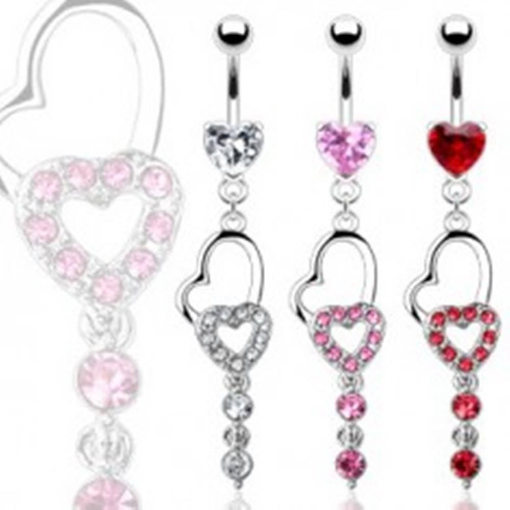 Šperky eshop Piercing pupka dve srdcia a dva visiace zirkóny - Farba zirkónu: Červená - R