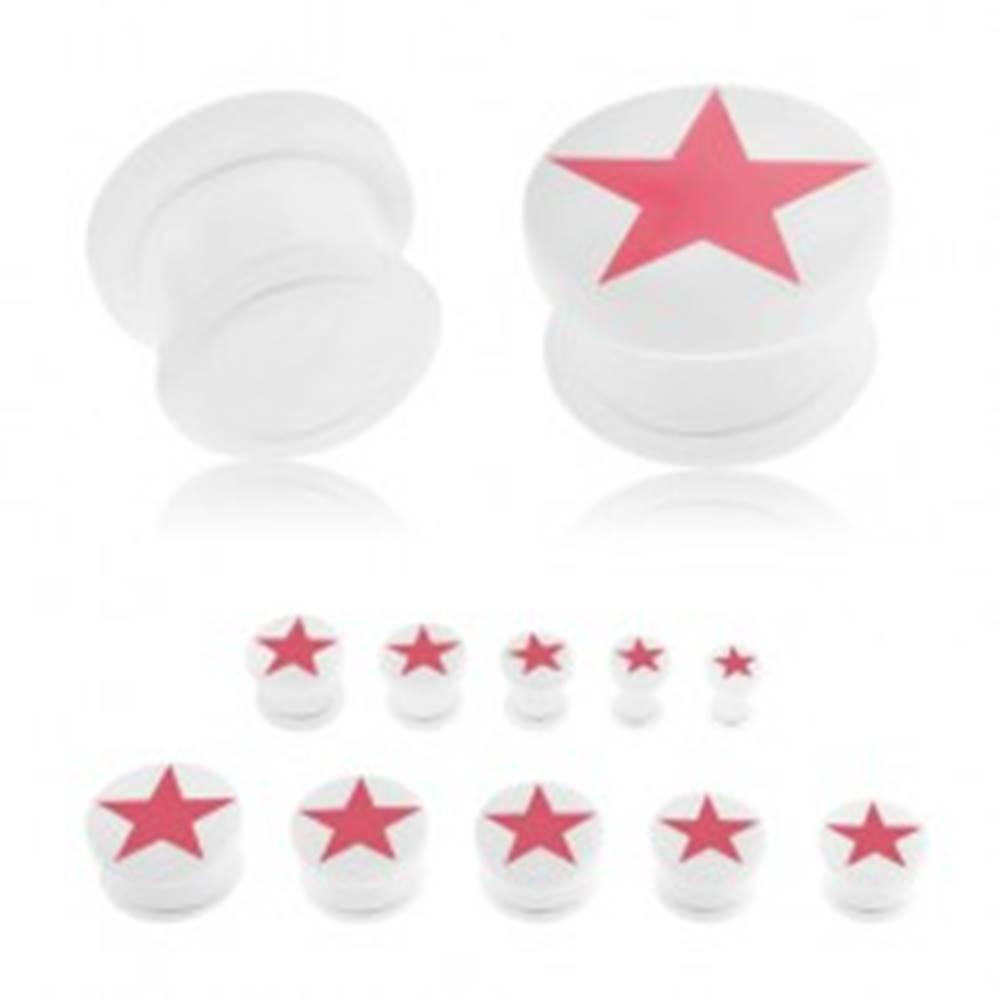 Šperky eshop Plug do ucha, akryl bielej farby, ružová päťcípa hviezda, číra gumička - Hrúbka: 10 mm