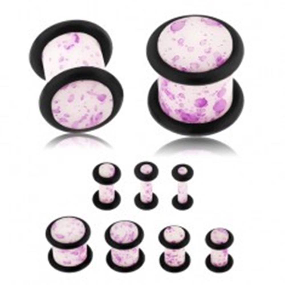 Šperky eshop Plug do ucha, akryl, biely povrch s fialovými škvrnami, čierne gumičky - Hrúbka: 10 mm