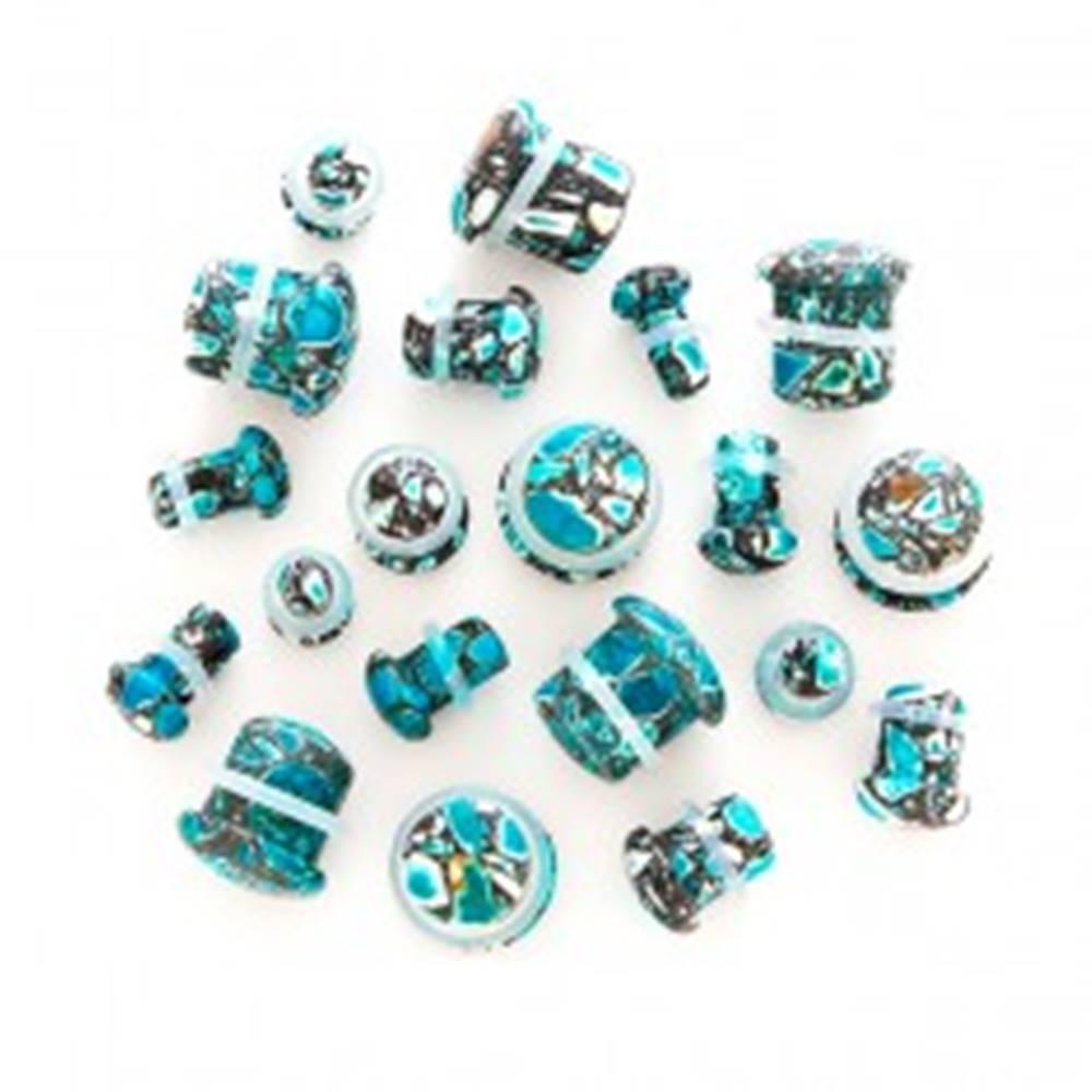 Šperky eshop Plug do ucha - modrá achátová hubka - Hrúbka: 10 mm