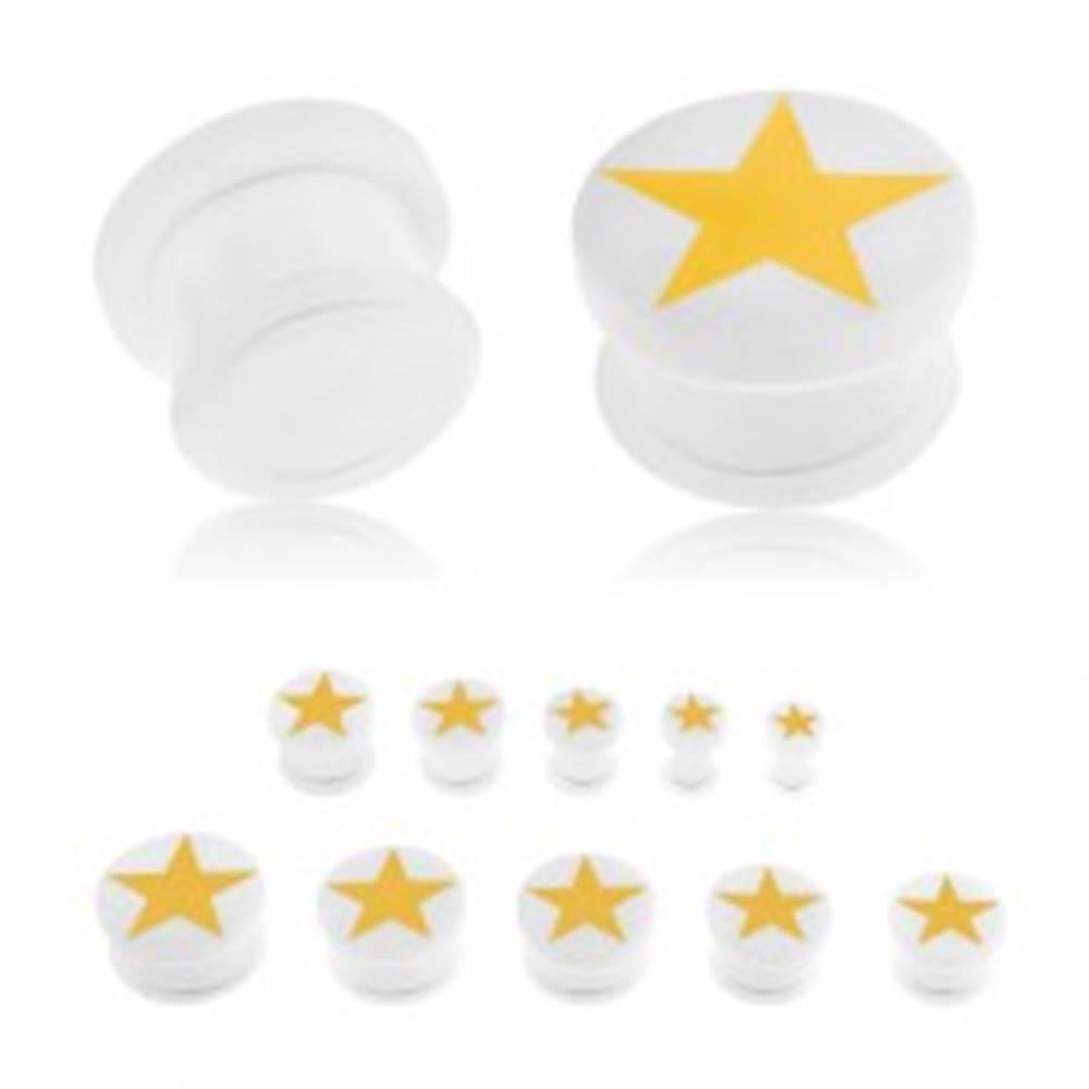 Šperky eshop Plug do ucha z akrylu bielej farby, žltá päťcípa hviezda, gumička - Hrúbka: 10 mm