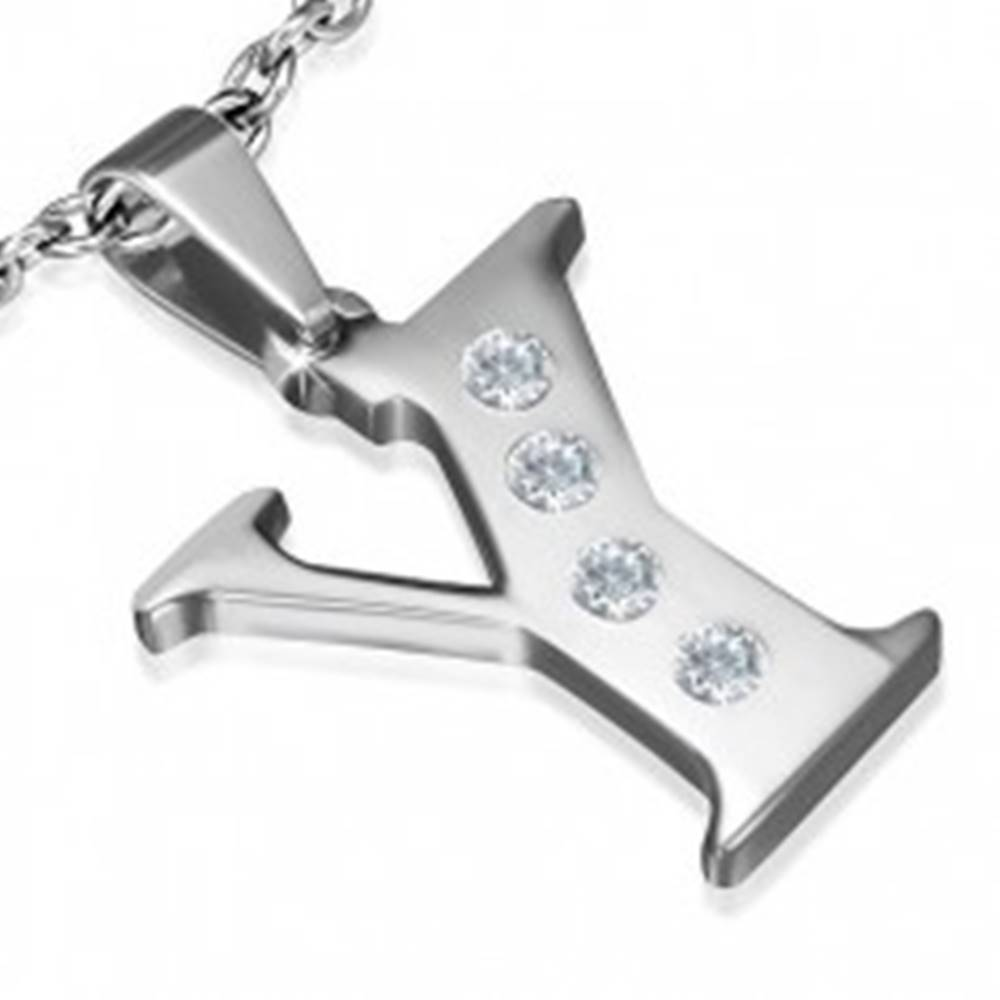 Šperky eshop Prívesok z ocele - písmeno v tvare Y, číre zirkóny