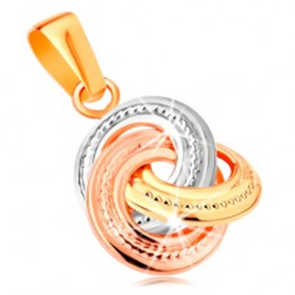 Šperky eshop Prívesok zo 14K zlata - trojfarebné prepojené obruče s gravírovaním