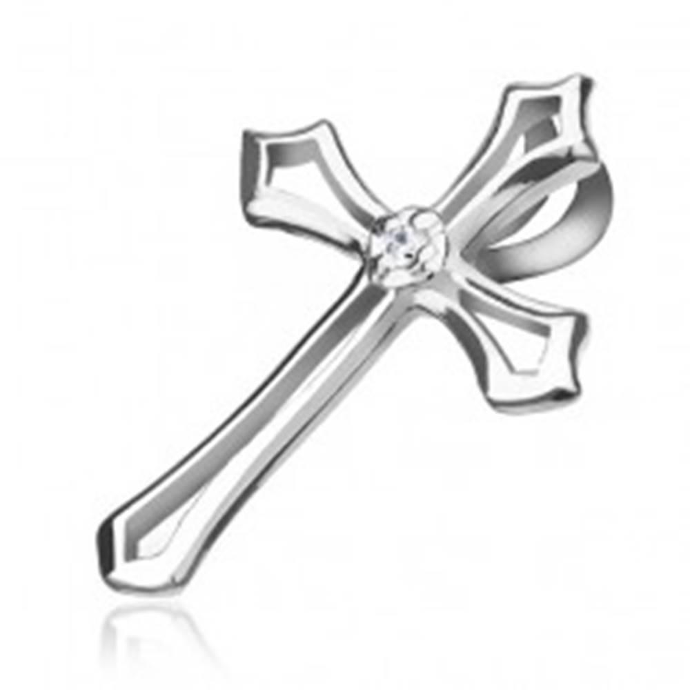 Šperky eshop Prívesok zo striebra 925 - kontúra kríža s čírym kamienkom