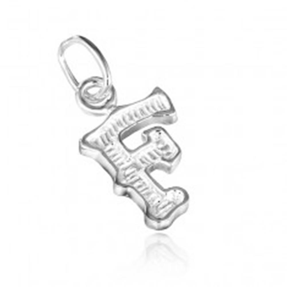Šperky eshop Prívesok zo striebra 925 - písmeno F s vrúbkami