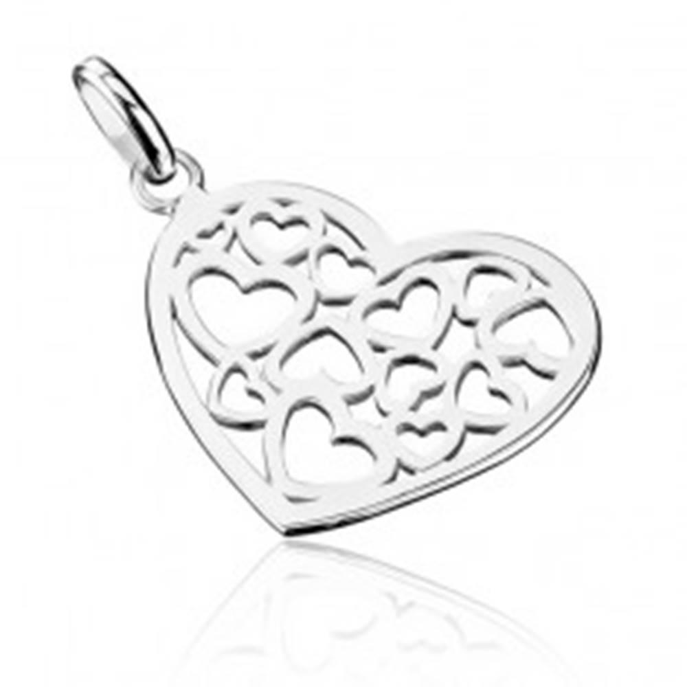 Šperky eshop Prívesok zo striebra 925 - vyrezávané srdce