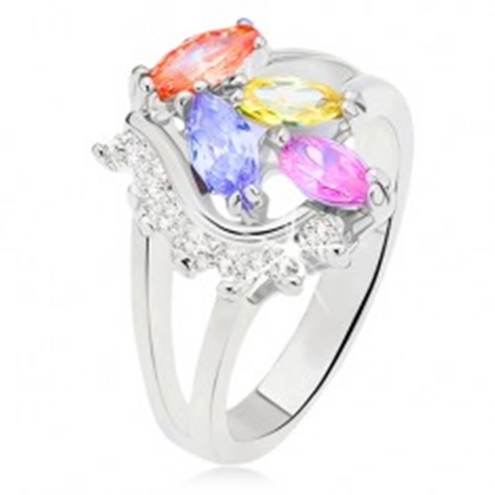 Šperky eshop Prsteň s rozdvojenými ramenami, farebné zrniečkové kamienky, číra oblá línia - Veľkosť: 51 mm