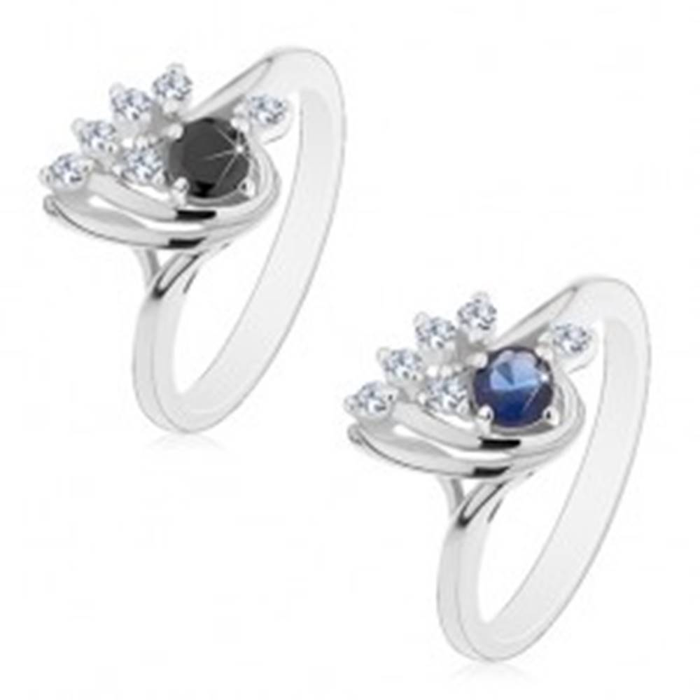 Šperky eshop Prsteň striebornej farby, asymetrická kvapka s čírymi a farebnými zirkónmi - Veľkosť: 49 mm, Farba: Čierna