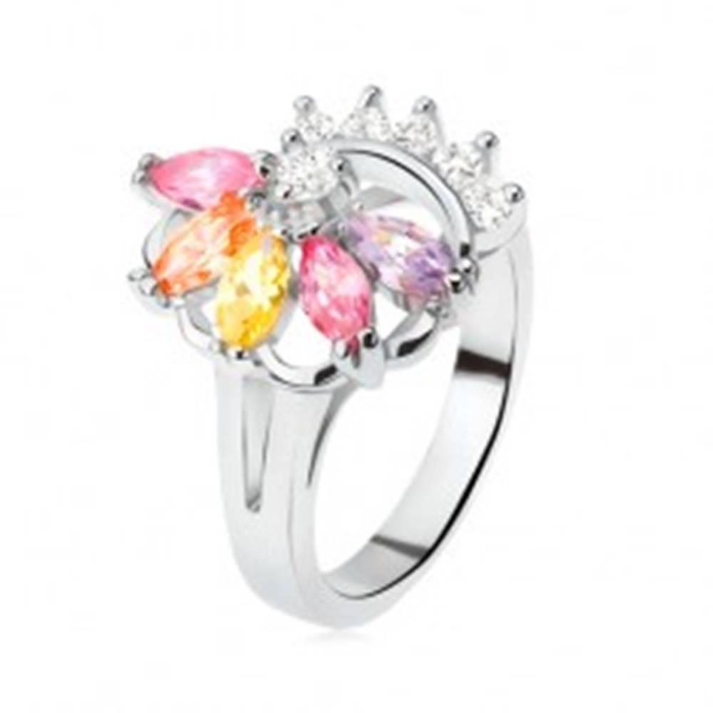Šperky eshop Prsteň striebornej farby, vejár z farebných kamienkov, číre zirkóny - Veľkosť: 49 mm