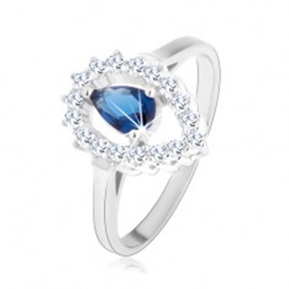 Šperky eshop Prsteň, striebro 925, číra kontúra obrátenej kvapky s modrou zirkónovou slzou - Veľkosť: 50 mm