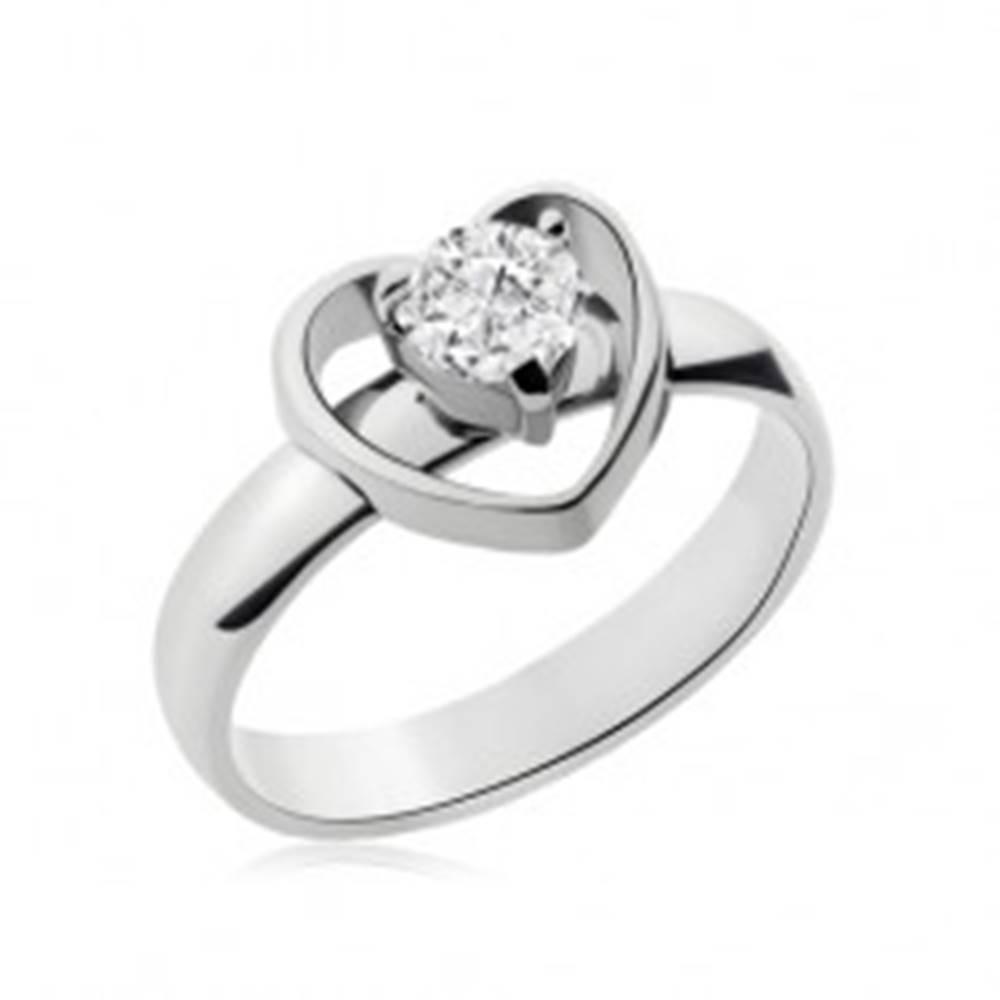Šperky eshop Prsteň z chirurgickej ocele striebornej farby, obrys srdiečka, číry zirkón - Veľkosť: 49 mm
