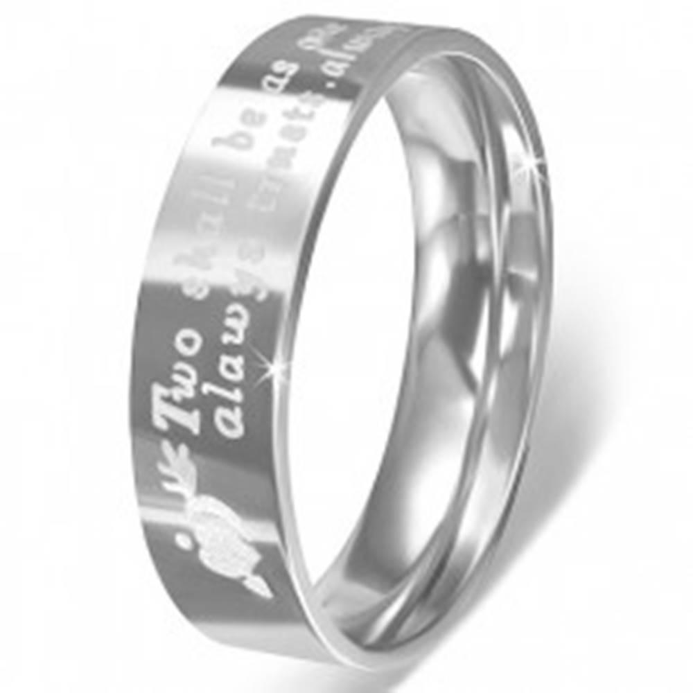 Šperky eshop Prsteň z nerezovej ocele - srdcia so šípom a vyznanie lásky - Veľkosť: 52 mm