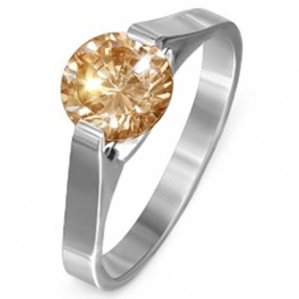 """Šperky eshop Prsteň z ocele - žltý kameň """"November"""", postranné úchyty - Veľkosť: 51 mm"""
