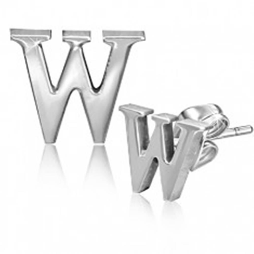 Šperky eshop Puzetové oceľové náušnice - tlačené písmeno W