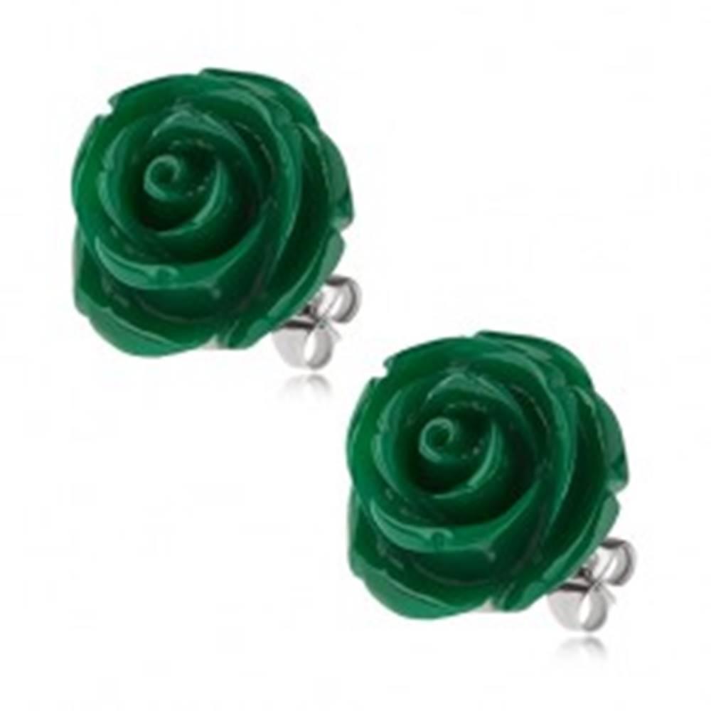 Šperky eshop Puzetové oceľové náušnice, tmavozelená ruža zo živice, 20 mm
