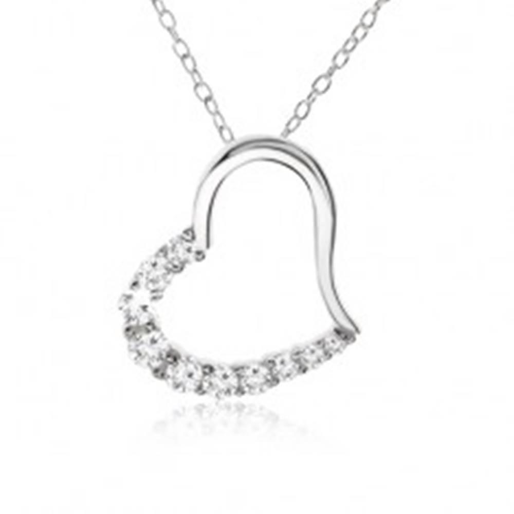 Šperky eshop Retiazka, obrys srdca so zirkónovou polovicou - náhrdelník, striebro 925