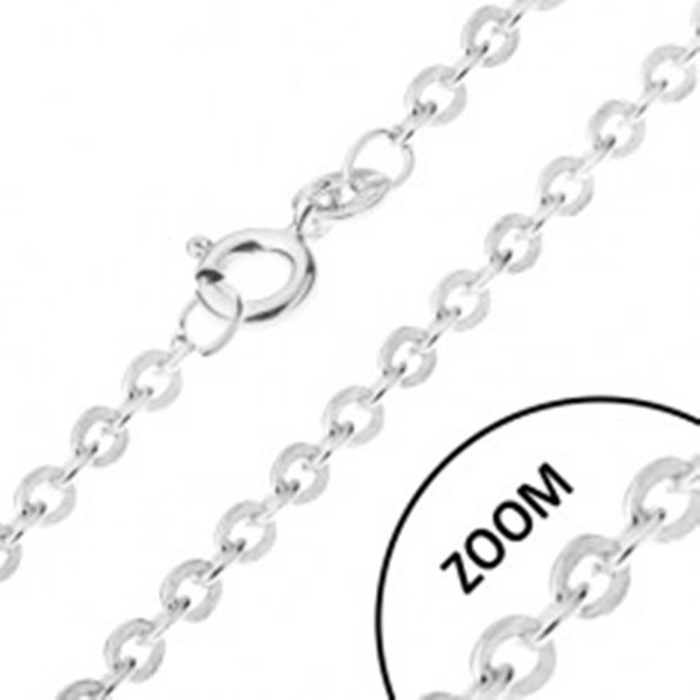Šperky eshop Retiazka s oválnymi kolmo napájanými očkami, striebro 925, 1,4 mm