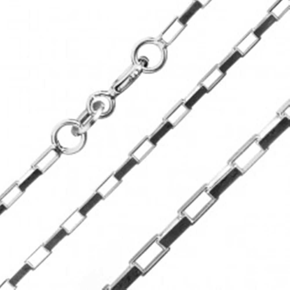 Šperky eshop Retiazka zo striebra 925 - kolmo spojené obdĺžniky, 1,5 mm