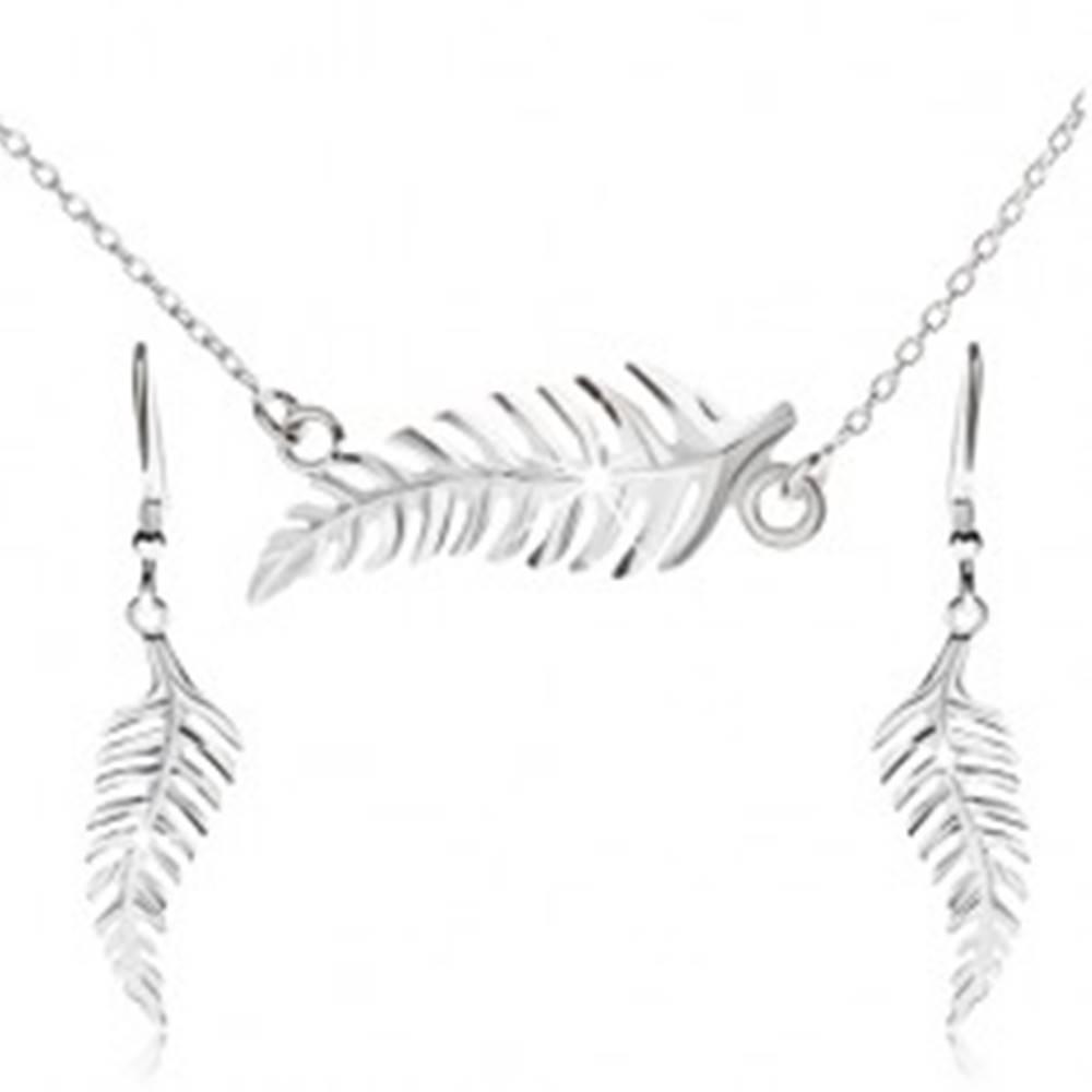 Šperky eshop Set náhrdelníka a visiacich náušníc, papradie, zo striebra 925