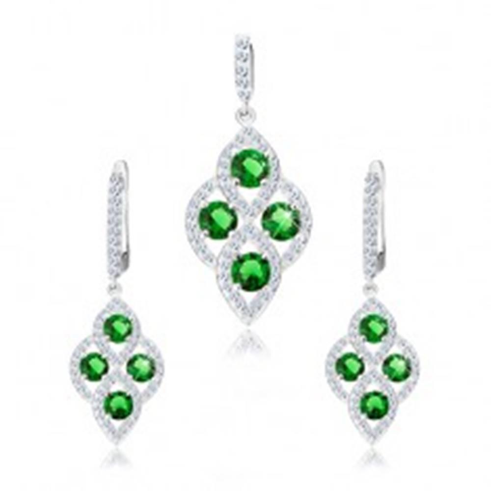 Šperky eshop Strieborná sada 925, prívesok a náušnice, oblý kosoštvorec, zelené zirkóny