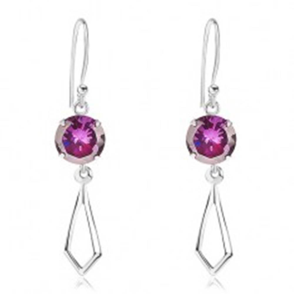 Šperky eshop Strieborné 925 náušnice, okrúhly zirkón fialovej farby, kontúra kosoštvorca