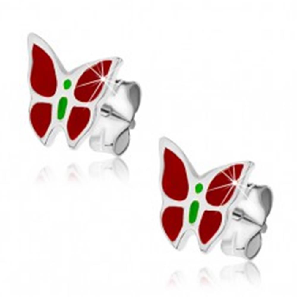 Šperky eshop Strieborné puzetové náušnice 925 - červeno-zelený motýľ