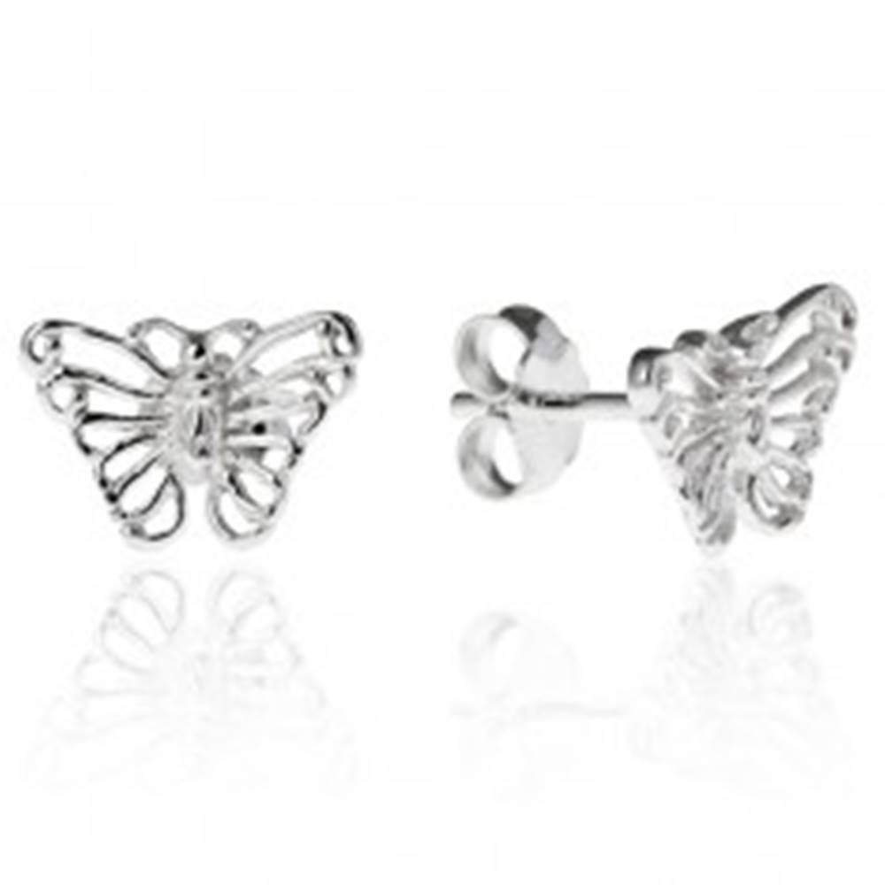 Šperky eshop Strieborné puzetové náušnice 925 - filigránový motýľ