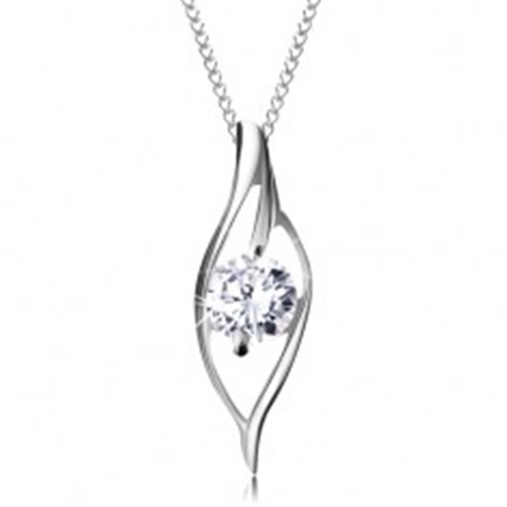 Šperky eshop Strieborný 925 náhrdelník, asymetrický obrys zrnka s ligotavým čírym zirkónom