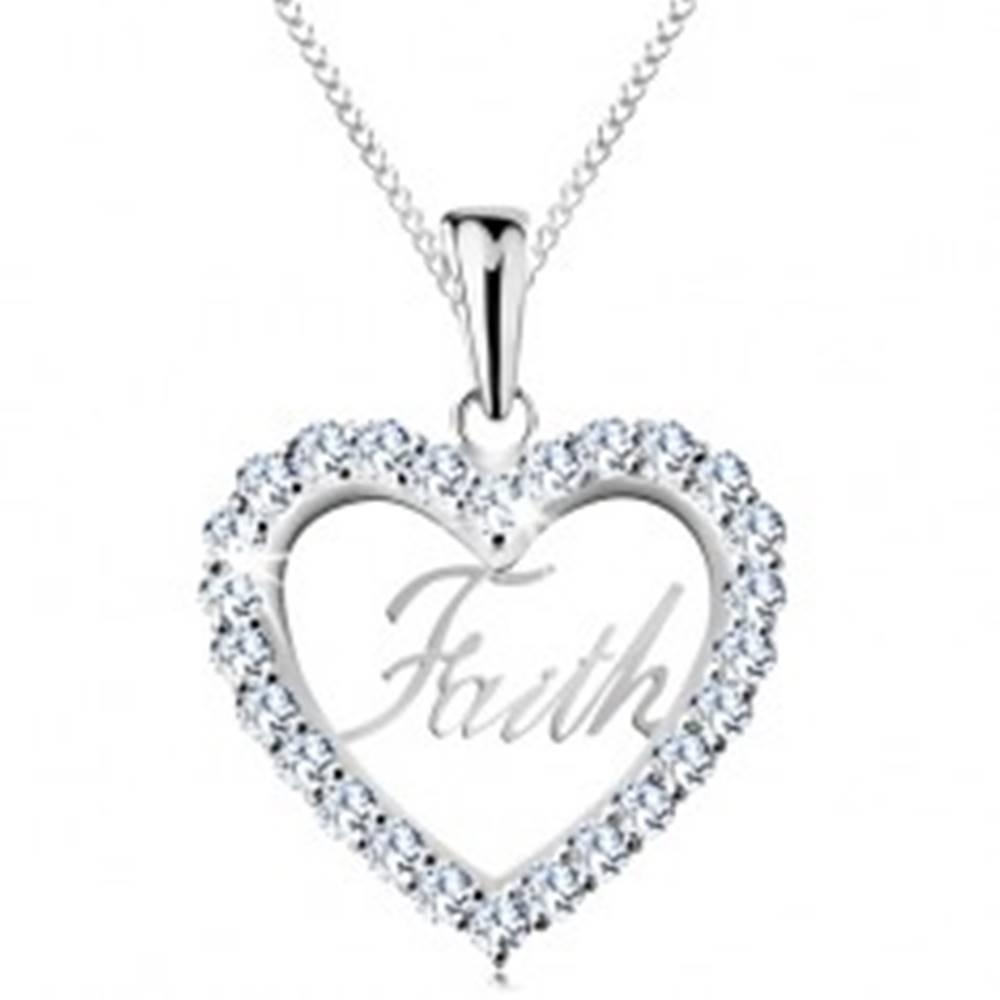 Šperky eshop Strieborný 925 náhrdelník, zirkónový obrys srdca, nápis Faith, tenká retiazka