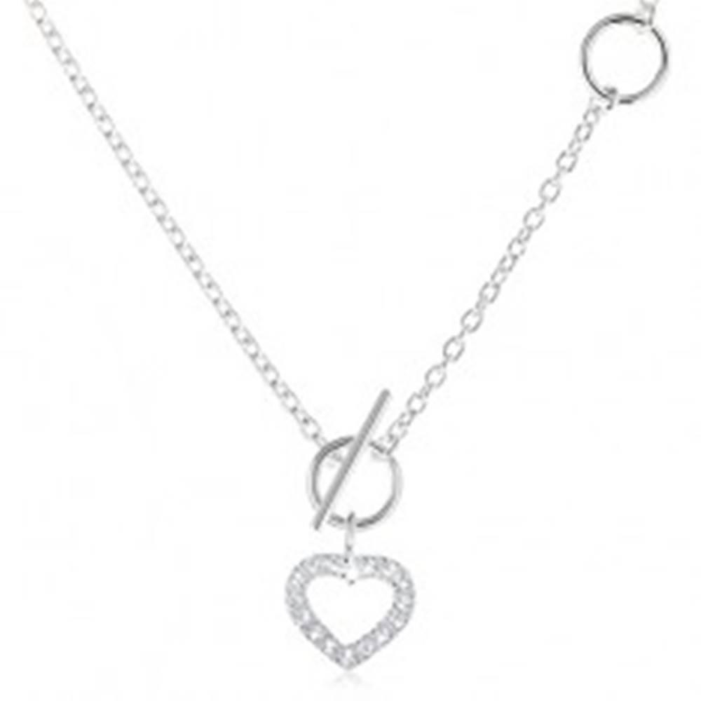 Šperky eshop Strieborný 925 náhrdelník, zirkónový obrys súmerného srdca a retiazka