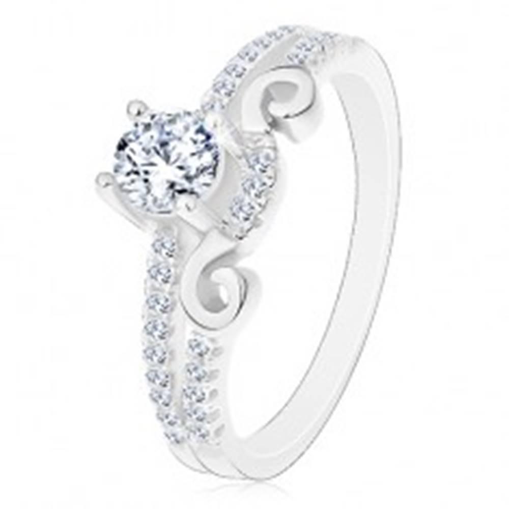 Šperky eshop Strieborný 925 prsteň, rozdelené ramená, zirkón, ornament a zirkónová línia - Veľkosť: 50 mm