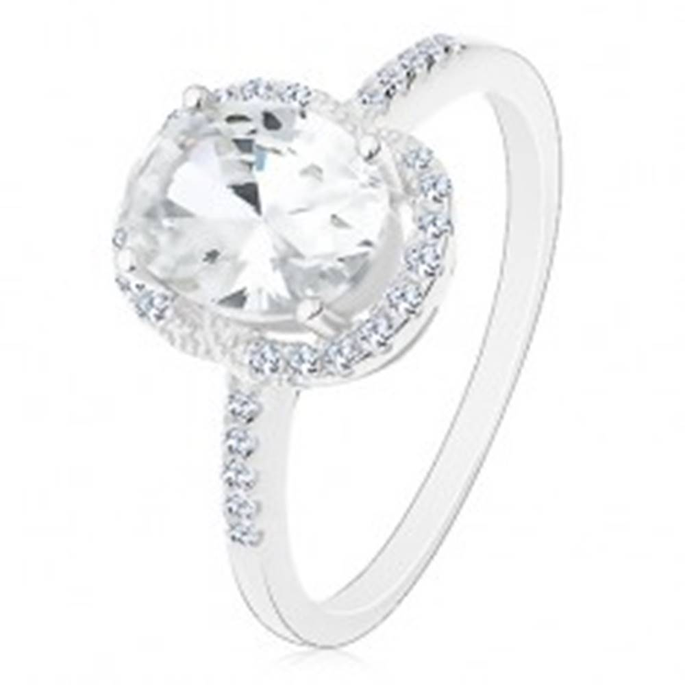 Šperky eshop Strieborný 925 prsteň - zásnubný, veľký oválny zirkón čírej farby v kotlíku, číry lem - Veľkosť: 48 mm