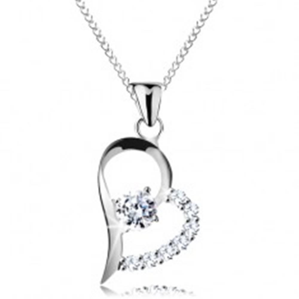 Šperky eshop Strieborný náhrdelník 925, číry zirkón v asymetrickej kontúre srdca, retiazka