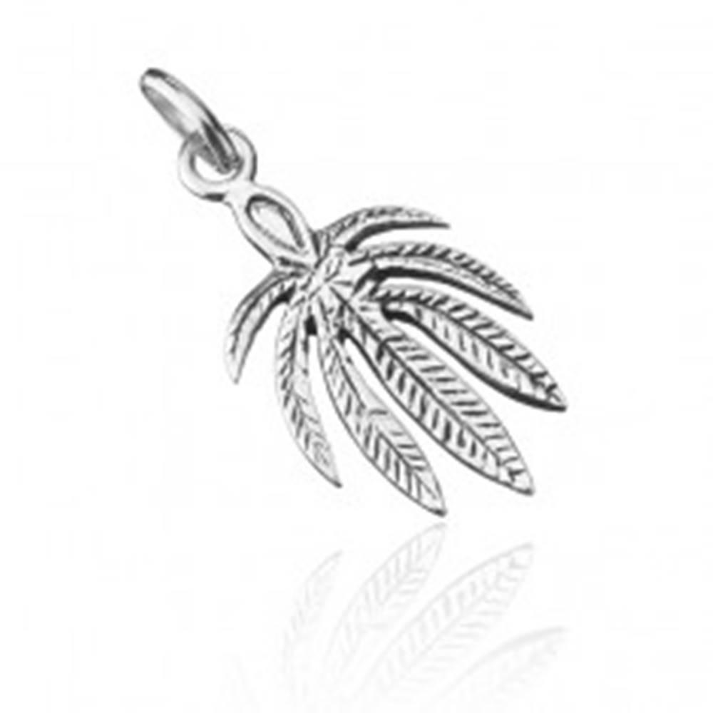 Šperky eshop Strieborný prívesok 925 - list konope s patinou