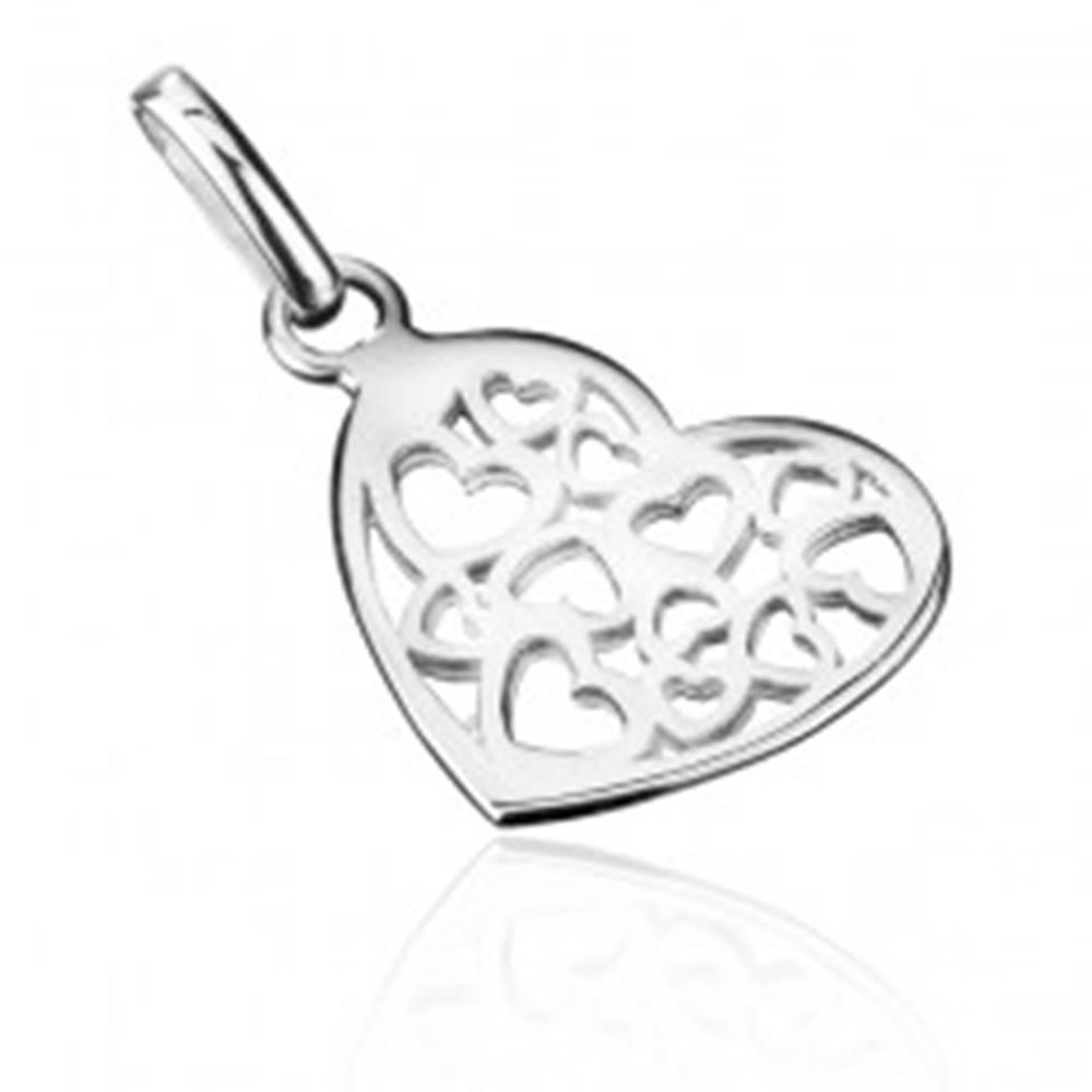 Šperky eshop Strieborný prívesok 925 - malé filigránové srdce