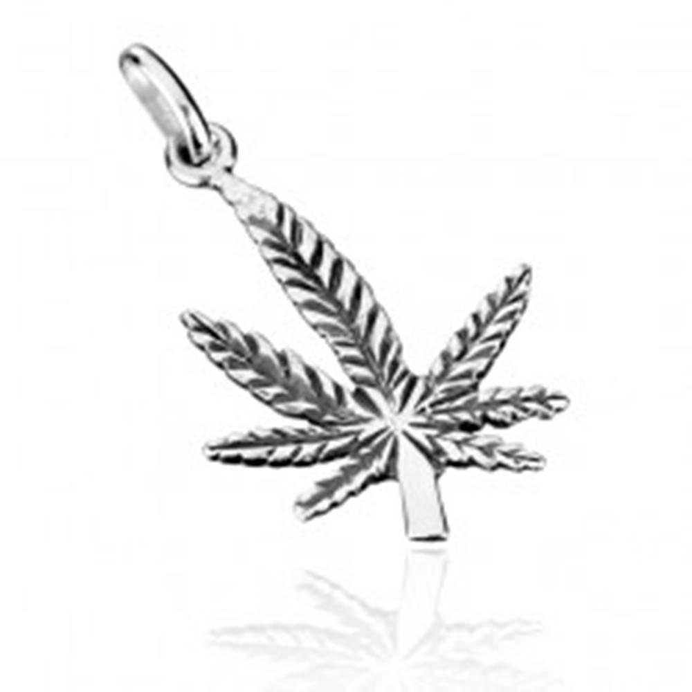 Šperky eshop Strieborný prívesok 925 - patinovaný ohnutý list konope