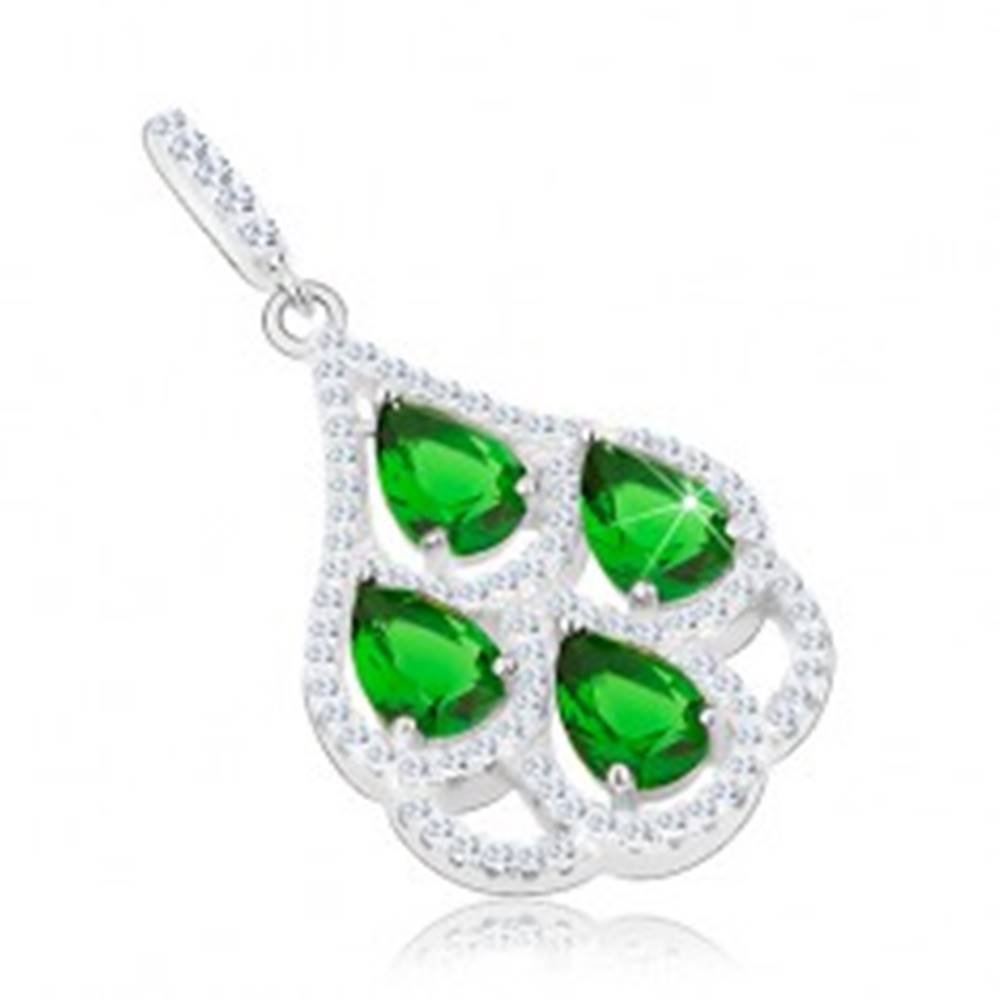 Šperky eshop Strieborný prívesok 925, zelené zirkónové slzy, priehľadný lem