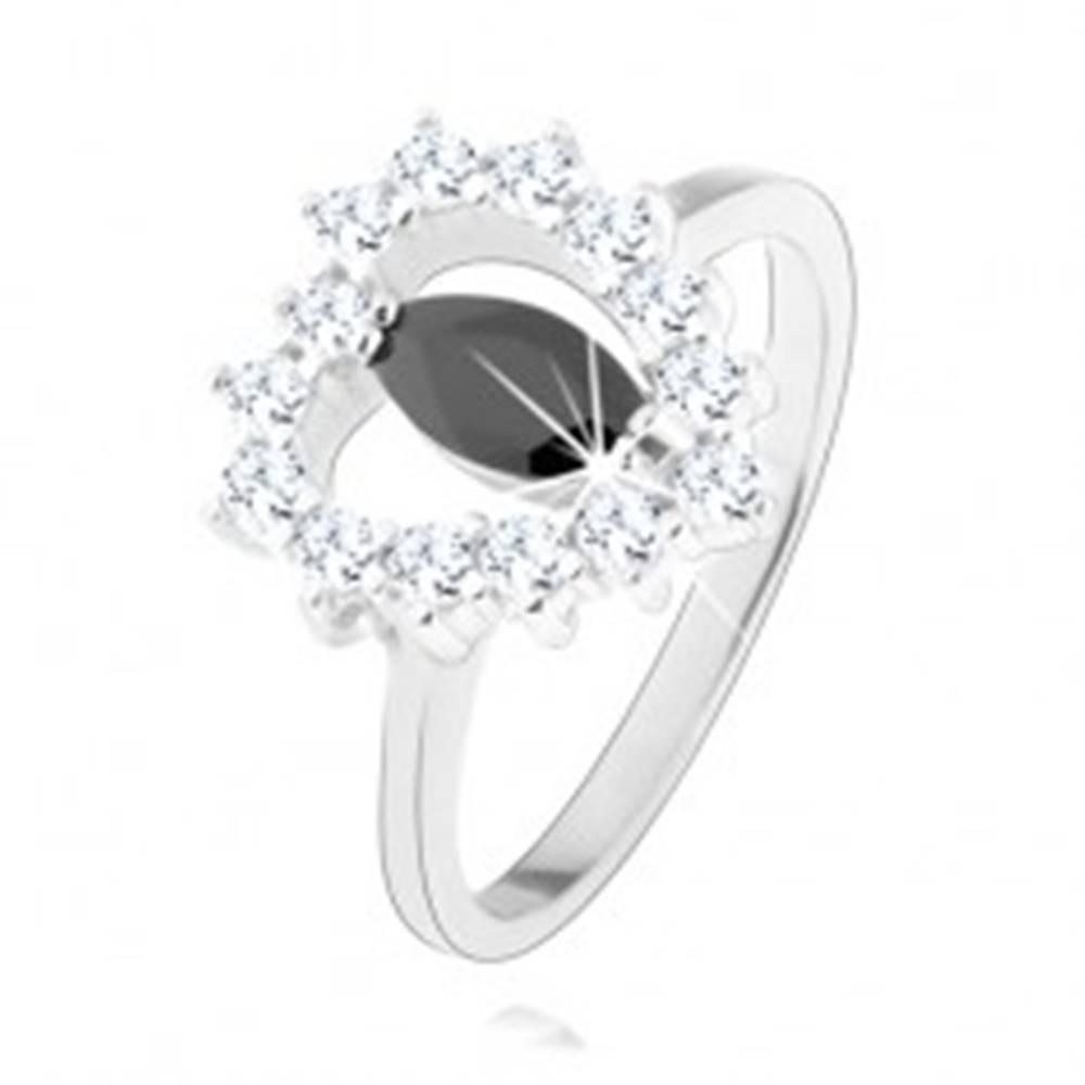 Šperky eshop Strieborný prsteň 925, čierny zirkón - zrnko, srdcový obrys, číre zirkóny - Veľkosť: 49 mm