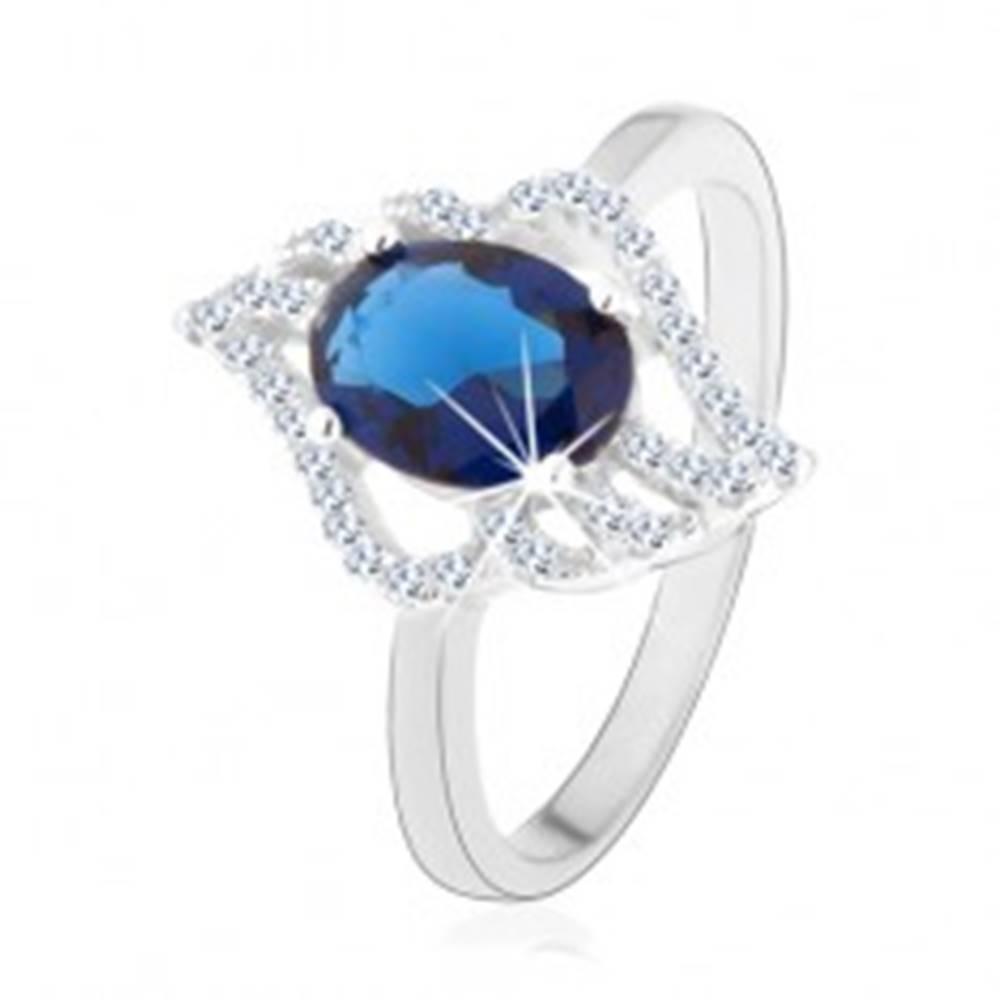Šperky eshop Strieborný prsteň 925, kontúra číreho lístka s oválnym tmavomodrým zirkónom - Veľkosť: 49 mm