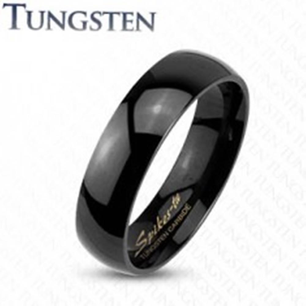 Šperky eshop Tungstenový hladký čierny prsteň, vysoký lesk, 2 mm - Veľkosť: 47 mm